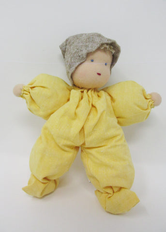 Waldorf Poppet Doll, Soft Yellow with Natural Hat