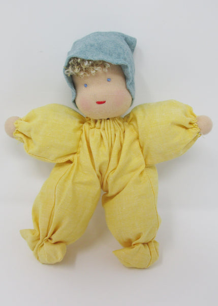 Waldorf Poppet Doll, Soft Yellow with Green Hat