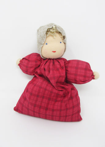 Waldorf Babette Doll, Red Check Fabric