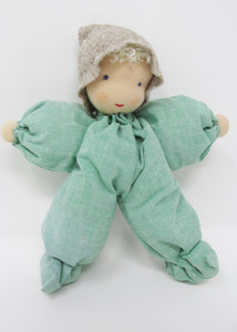 Waldorf Poppet Doll, Soft Green Fabric