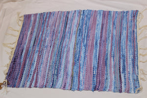 SALE 50% off at Checkout - Rug, Hand Woven, Blue and Purple