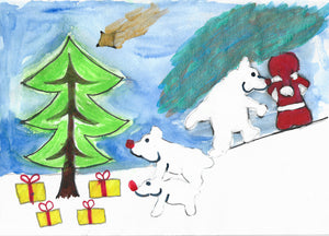 Christmas Card, Santa's Polar Bears
