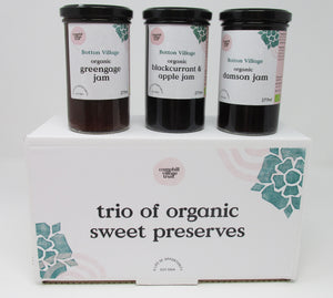 Hamper Trio of Organic Sweet Preserves, Greengage, Blackcurrant and Apple, Damson Jam