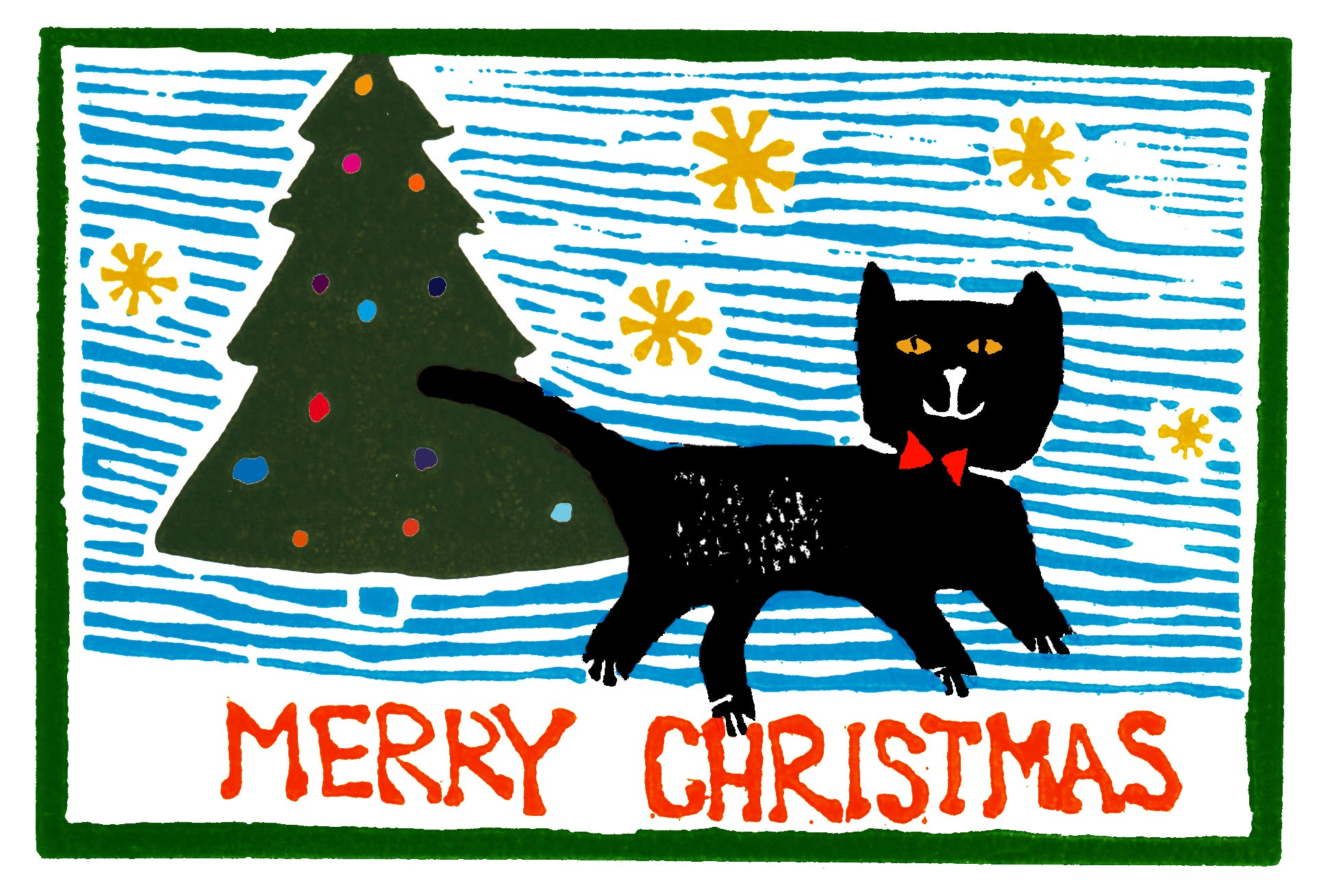 SALE 50% off at Checkout - Christmas Card, Christmas Cat