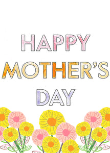 Card, Happy Mother's Day with yellow and pink flowers