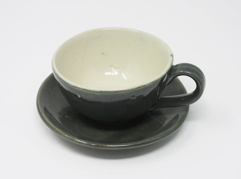 Cup and Saucer, Stormy Sea Green and Blue