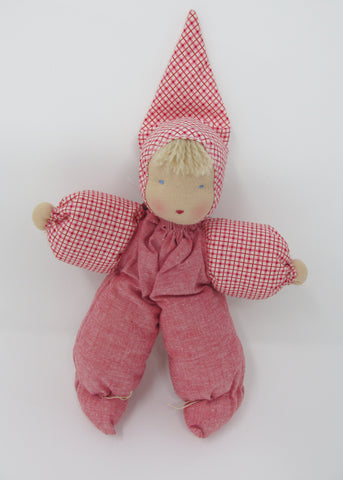 Waldorf Poppet Doll, Red Check Fabric