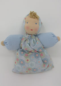 Waldorf Babette Doll, Pale Blue Daisy Fabric