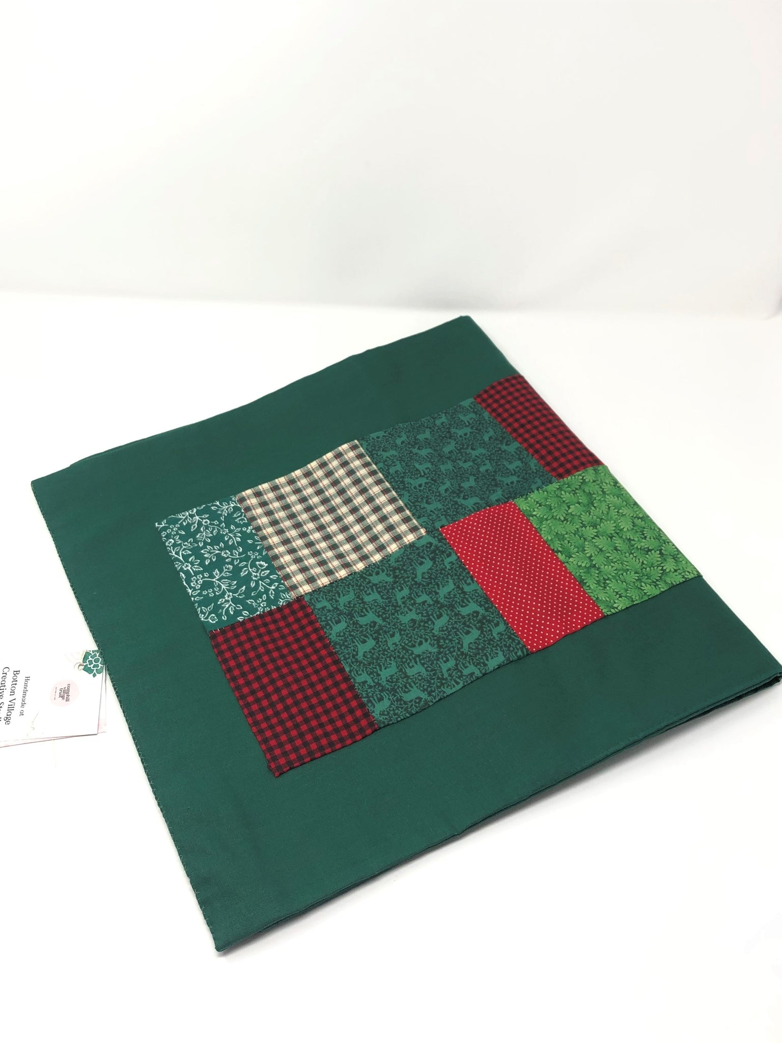 Green festive table runner