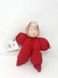 Waldorf Poppet Doll, Red flowers