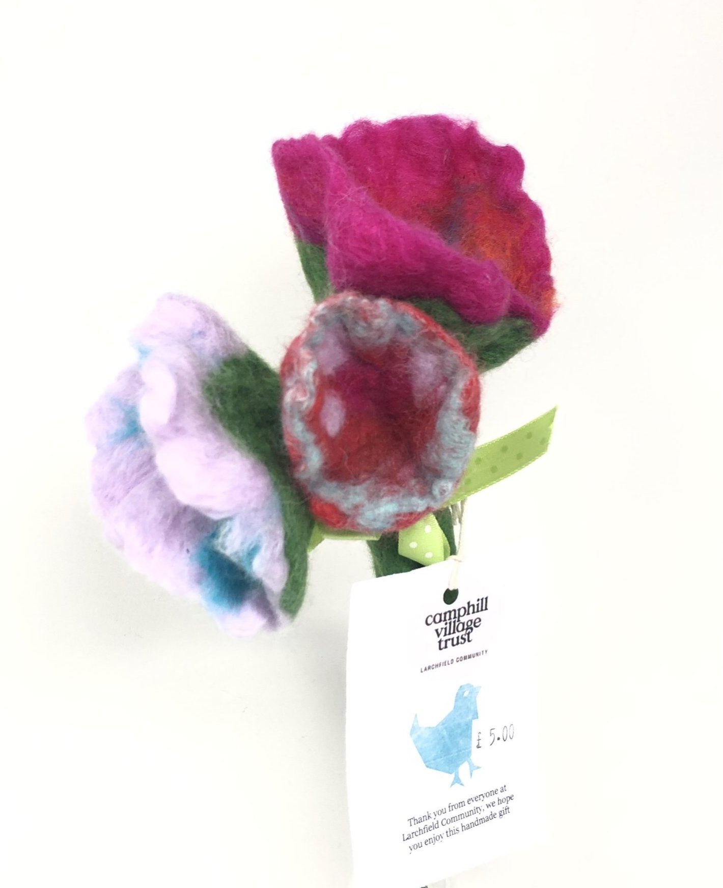 Bunch of 3 felted flowers
