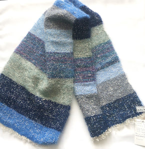 Blue striped woven scarf