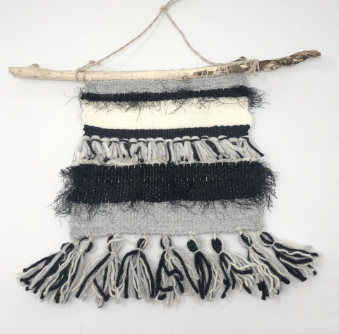 Monochrome boho wall hanging