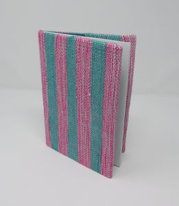 Book Jacket, Woven Green and Pink