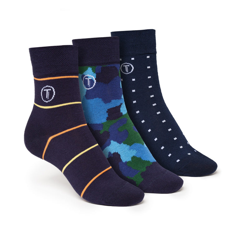 3er Pack Mid-Top Socken Camo/Cube/Stripe