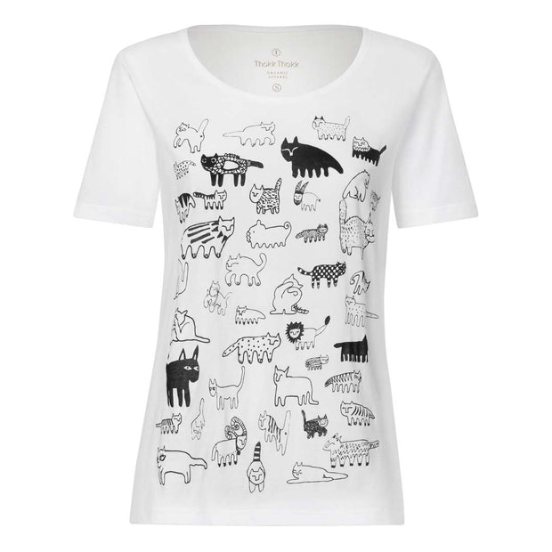 90Cats TT64 T-Shirt Woman black/white GOTS & Fairtrade