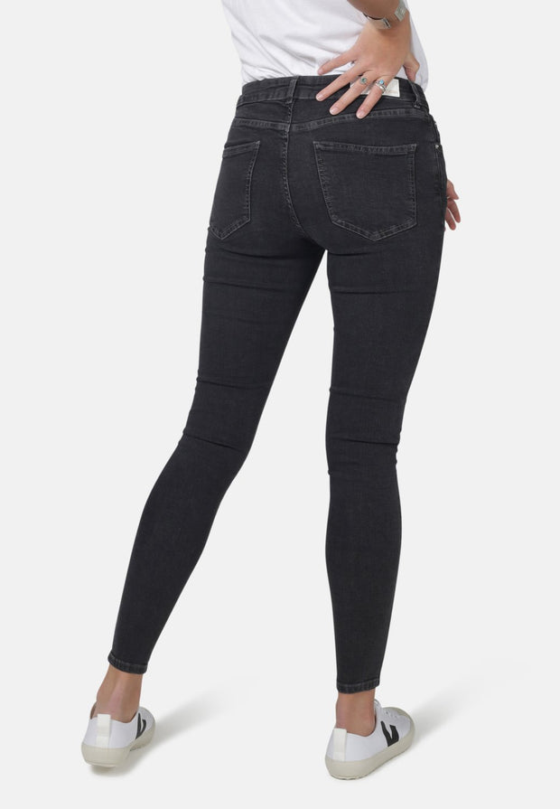 MONKEEGENES / Cody Organic Super Skinny Mid Waist Jeans / Dark Grey Eco Wash