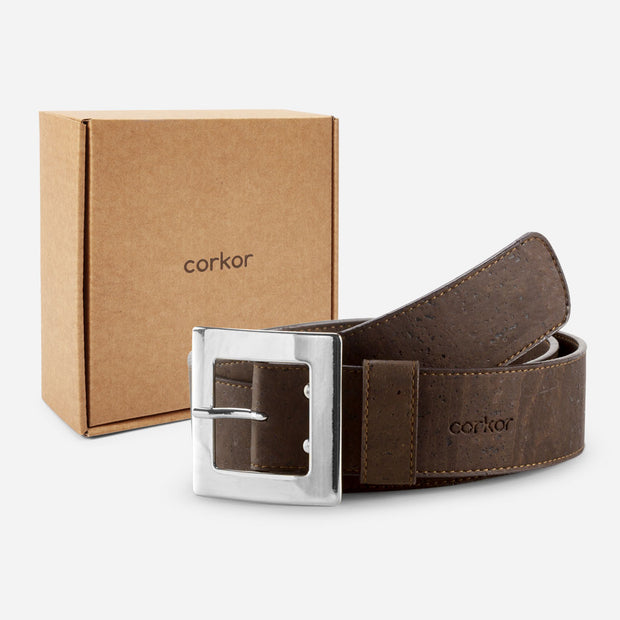 CORKOR / Women Cork Belt 40mm / Dark Brown