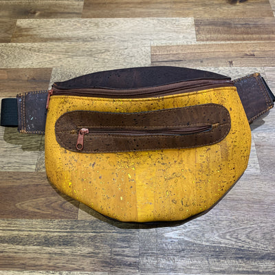 Cork Fanny Pack 02 / Dark Brown Cork with Yellow