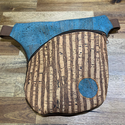 KORTEZA / Cork Fanny Pack 01 / Natural Cork with Blue