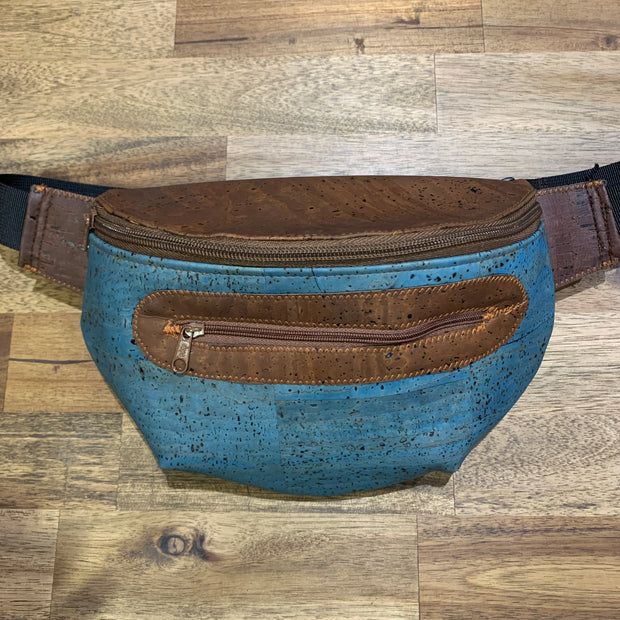 KORTEZA / Cork Fanny Pack 02 / Dark Brown Cork with Blue