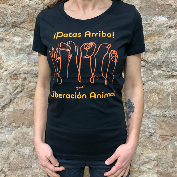 "T-Shirt Tight Fit ""Patas Arriba"" / Black"