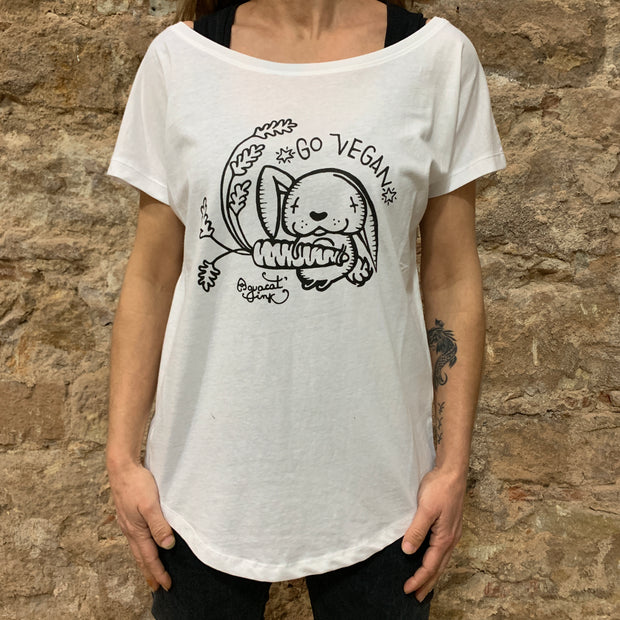 "PASSION ANIMAL / T-Shirt Loose Fit ""Go Vegan"" Rabbit / White"