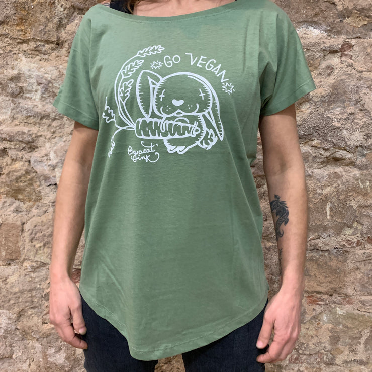 "PASSION ANIMAL / T-Shirt Loose Fit ""Go Vegan"" Rabbit / Soft Olive"