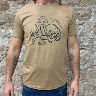 "PASSION ANIMAL / T-Shirt Unisex ""Go Vegan"" Rabbit / Camel"