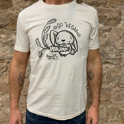"PASSION ANIMAL / T-Shirt Unisex ""Go Vegan"" Rabbit / Vintage White"
