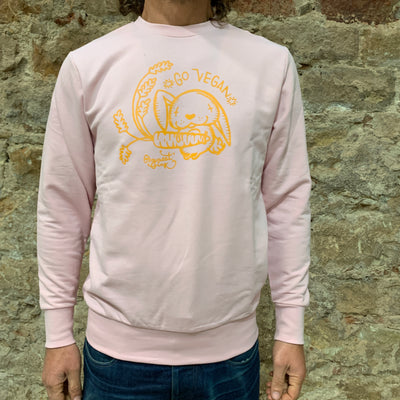 "PASSION ANIMAL / Sweater Unisex ""Go Vegan"" Rabbit / Soft Pink"