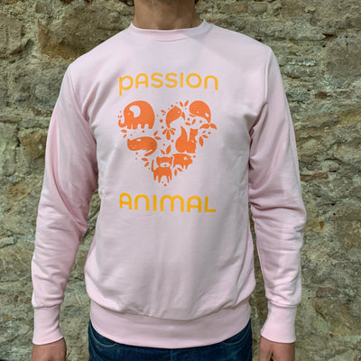 PASSION ANIMAL / Sweater Unisex PASSION ANIMAL Logo / Soft Pink
