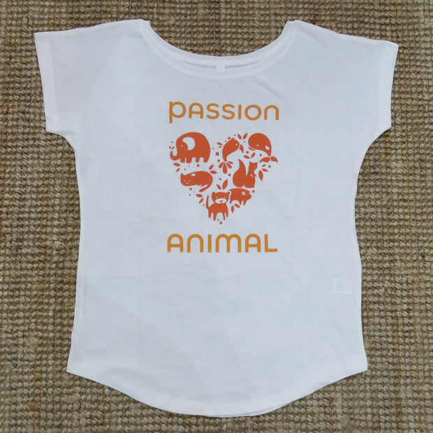 T-Shirt Loose Fit PASSION ANIMAL Logo / White