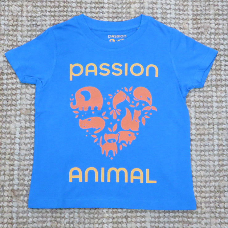 T-Shirt Kids PASSION ANIMAL Logo / Azur Blue