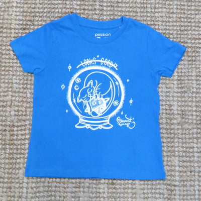 "PASSION ANIMAL / T-Shirt Kids ""Looks Good"" Cat / Azur Blue"