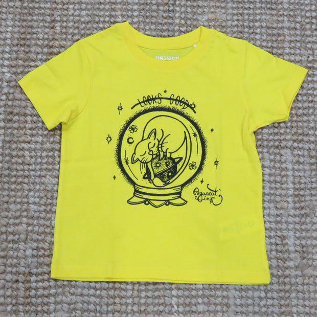 "PASSION ANIMAL / T-Shirt Kids ""Looks Good"" Cat / Golden Yellow"