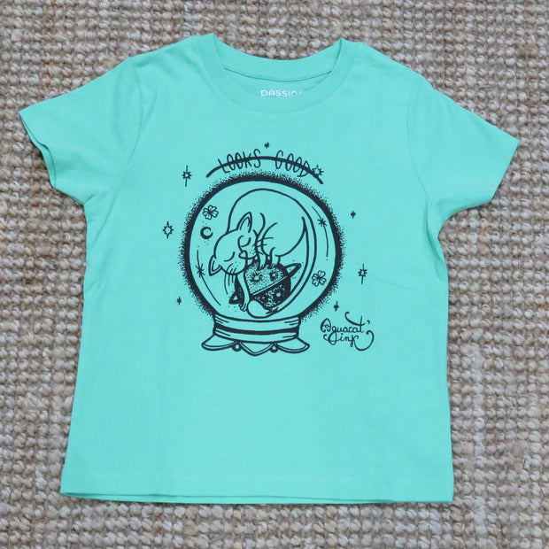 "PASSION ANIMAL / T-Shirt Kids ""Looks Good"" Cat / Chameleon Green"