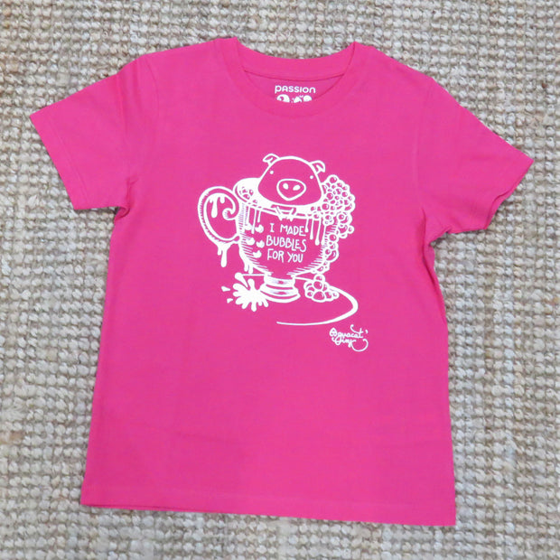"PASSION ANIMAL / T-Shirt Kids ""Bubbles"" Pig / Raspberry"