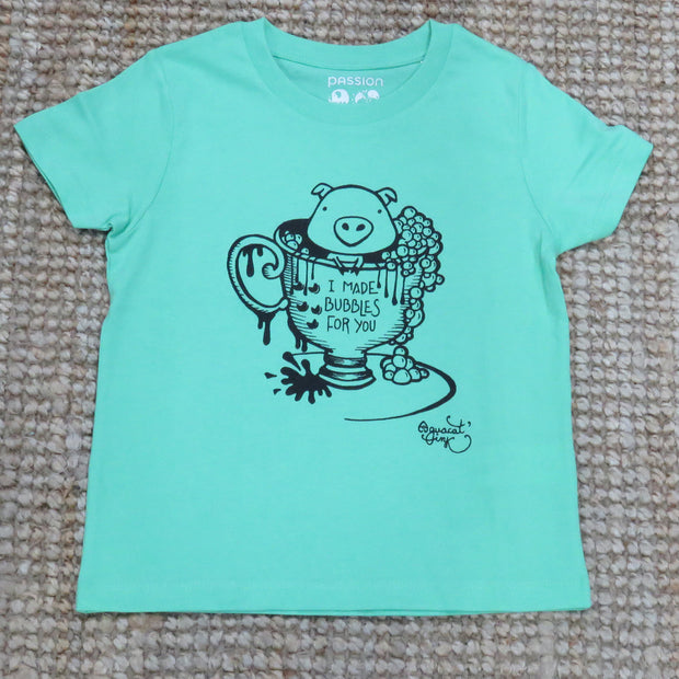 "PASSION ANIMAL / T-Shirt Kids ""Bubbles"" Pig / Chameleon Green"