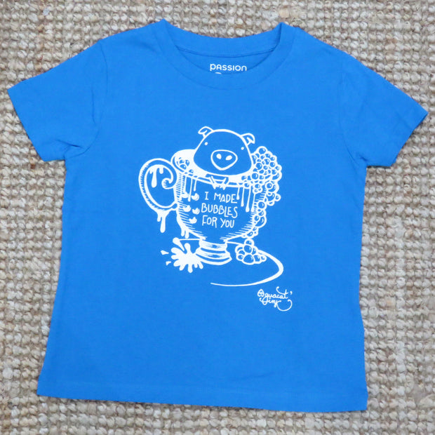 "PASSION ANIMAL / T-Shirt Kids ""Bubbles"" Pig / Azur Blue"