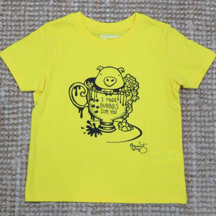 "PASSION ANIMAL / T-Shirt Kids ""Bubbles"" Pig / Golden Yellow"