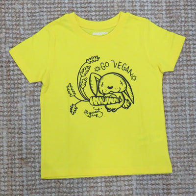 "PASSION ANIMAL / T-Shirt Kids ""Go Vegan"" Rabbit / Golden Yellow"