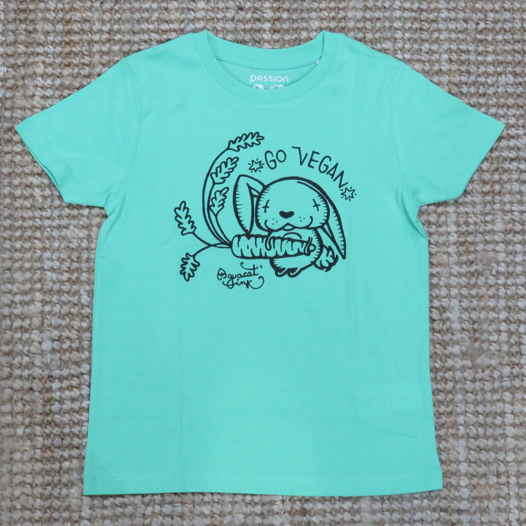 "PASSION ANIMAL / T-Shirt Kids ""Go Vegan"" Rabbit / Chameleon Green"