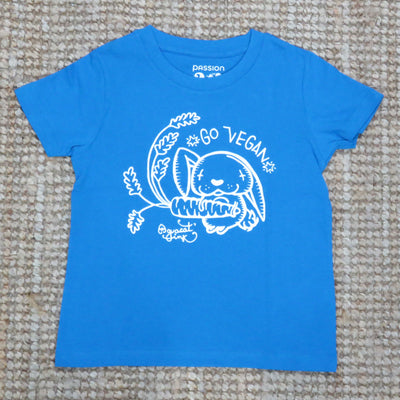 "PASSION ANIMAL / T-Shirt Kids ""Go Vegan"" Rabbit / Azur Blue"