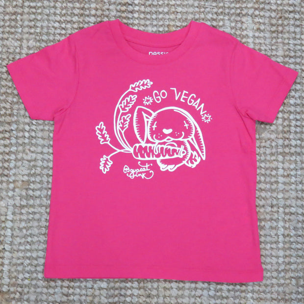 "PASSION ANIMAL / T-Shirt Kids ""Go Vegan"" Rabbit / Raspberry"