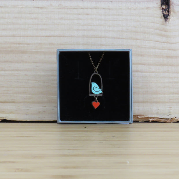 Necklace Blue Bird & Love