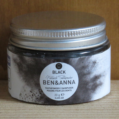 BEN & ANNA / Tooth Powder in Glass Jar / Black with Active Carbon