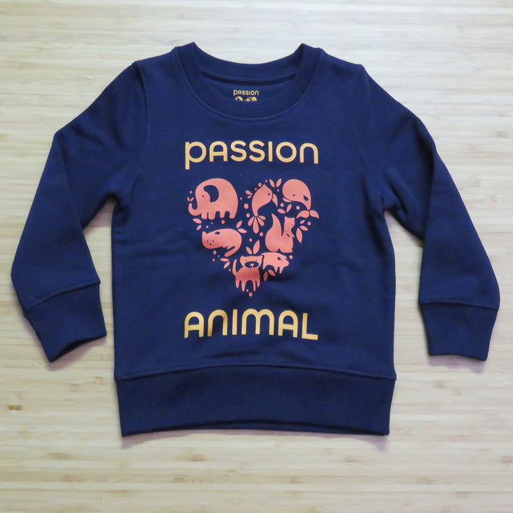PASSION ANIMAL / Sweater Kids PASSION ANIMAL Logo / French Navy