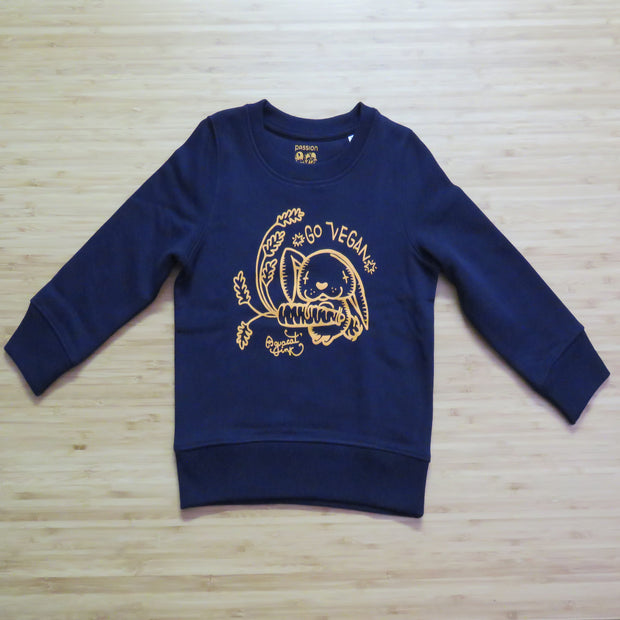 "PASSION ANIMAL / Sweater Kids ""Go Vegan"" Rabbit / French Navy"