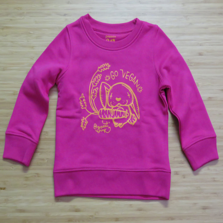 "PASSION ANIMAL / Sweater Kids ""Go Vegan"" Rabbit / Raspberry"